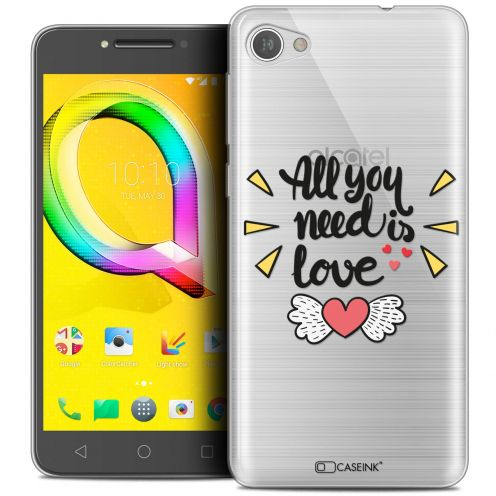 "Extra Slim Crystal Gel Alcatel A5 LED (5.2"") Case Love All U Need Is"
