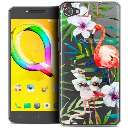 "Extra Slim Crystal Gel Alcatel A5 LED (5.2"") Case Watercolor Tropical Flamingo"