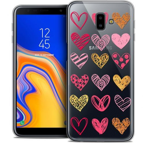 "Extra Slim Crystal Gel Samsung Galaxy J6 Plus J6+ (6.4"") Case Sweetie Doodling Hearts"