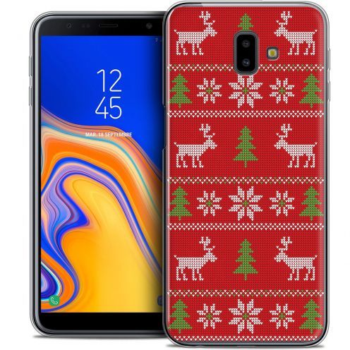 "Extra Slim Crystal Gel Samsung Galaxy J6 Plus J6+ (6.4"") Case Noël 2017 Couture Rouge"
