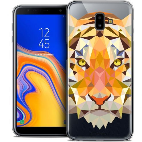 "Extra Slim Crystal Gel Samsung Galaxy J6 Plus J6+ (6.4"") Case Polygon Animals Tiger"