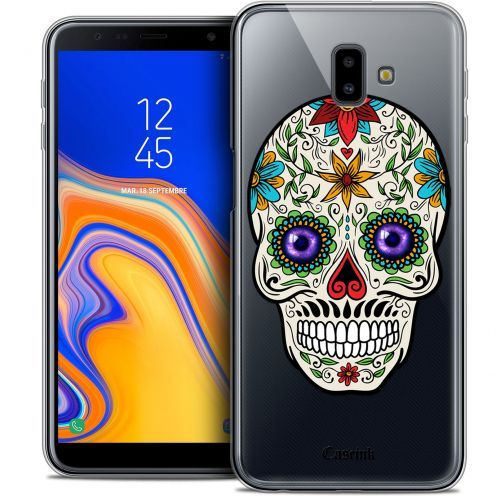 "Extra Slim Crystal Gel Samsung Galaxy J6 Plus J6+ (6.4"") Case Skull Maria's Flower"