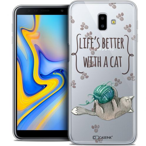 "Extra Slim Crystal Gel Samsung Galaxy J6 Plus J6+ (6.4"") Case Quote Life's Better With a Cat"