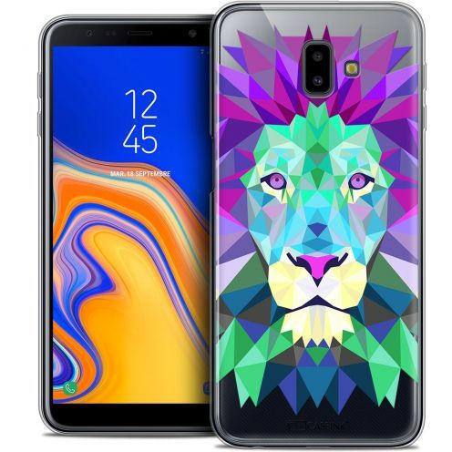 "Extra Slim Crystal Gel Samsung Galaxy J6 Plus J6+ (6.4"") Case Polygon Animals Lion"