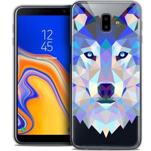 "Extra Slim Crystal Gel Samsung Galaxy J6 Plus J6+ (6.4"") Case Polygon Animals Wolf"