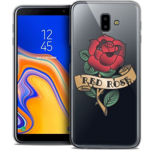 "Extra Slim Crystal Gel Samsung Galaxy J6 Plus J6+ (6.4"") Case Tatoo Lover Red Rose"