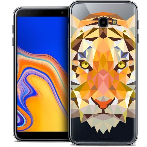 "Extra Slim Crystal Gel Samsung Galaxy J4 Plus J4+ (6"") Case Polygon Animals Tiger"
