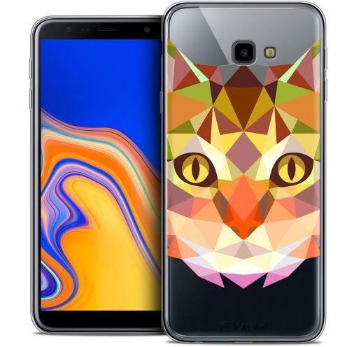 "Extra Slim Crystal Gel Samsung Galaxy J4 Plus J4+ (6"") Case Polygon Animals Cat"