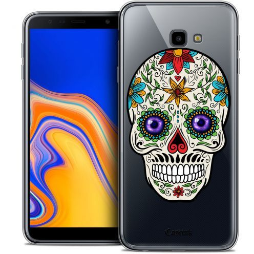 "Extra Slim Crystal Gel Samsung Galaxy J4 Plus J4+ (6"") Case Skull Maria's Flower"