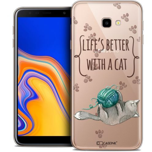 "Extra Slim Crystal Gel Samsung Galaxy J4 Plus J4+ (6"") Case Quote Life's Better With a Cat"