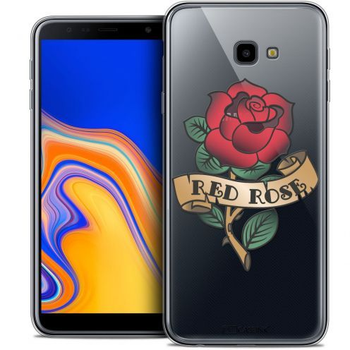 "Extra Slim Crystal Gel Samsung Galaxy J4 Plus J4+ (6"") Case Tatoo Lover Red Rose"