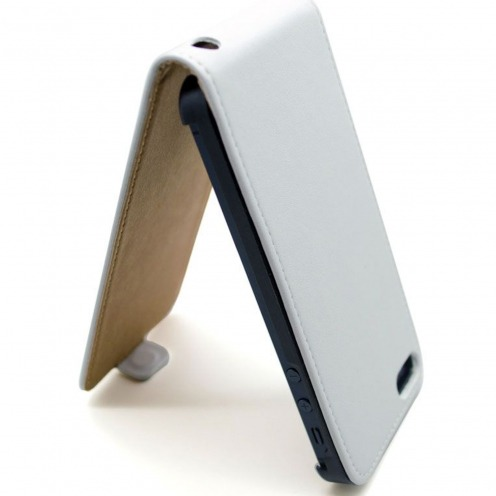 Cover iPhone 5 flip leather white
