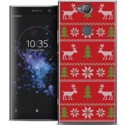 """Extra Slim Crystal Gel Sony Xperia XA2 PLUS (6"""") Case Noël 2017 Couture Rouge"""