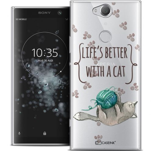 """Extra Slim Crystal Gel Sony Xperia XA2 PLUS (6"""") Case Quote Life's Better With a Cat"""