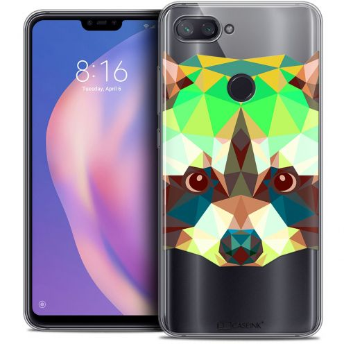 "Extra Slim Crystal Gel Xiaomi Mi 8 LITE (6.26"") Case Polygon Animals Raton Laveur"