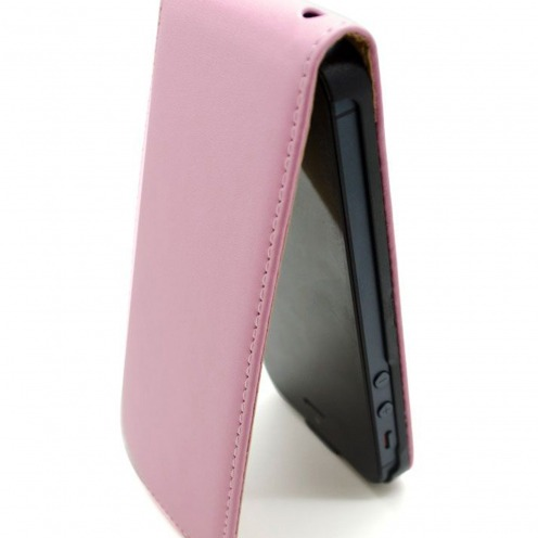 Cover iPhone 5 flip leather Rose