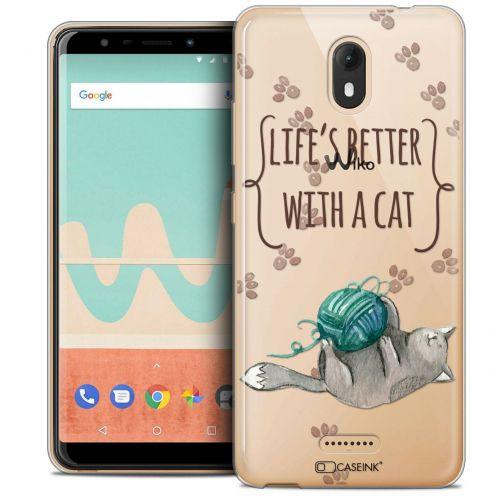 "Extra Slim Crystal Gel Wiko View GO (5.7"") Case Quote Life's Better With a Cat"