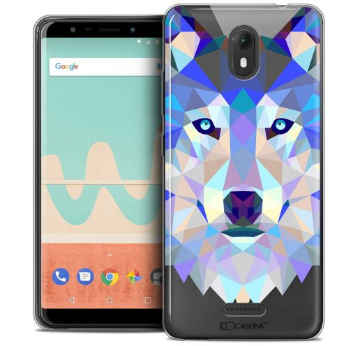 "Extra Slim Crystal Gel Wiko View GO (5.7"") Case Polygon Animals Wolf"