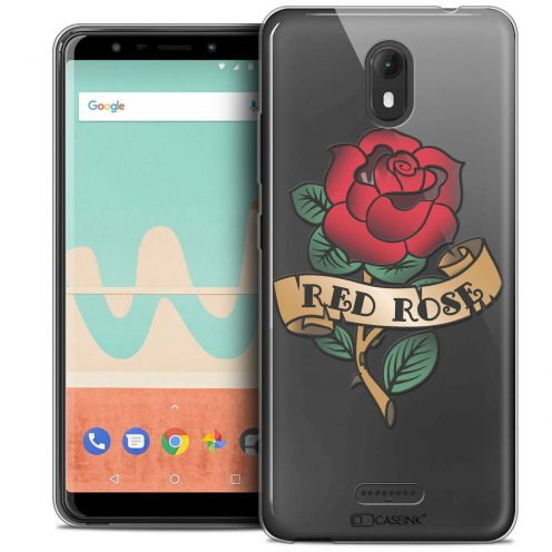 "Extra Slim Crystal Gel Wiko View GO (5.7"") Case Tatoo Lover Red Rose"