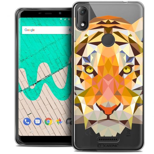 "Extra Slim Crystal Gel Wiko View MAX (5.7"") Case Polygon Animals Tiger"