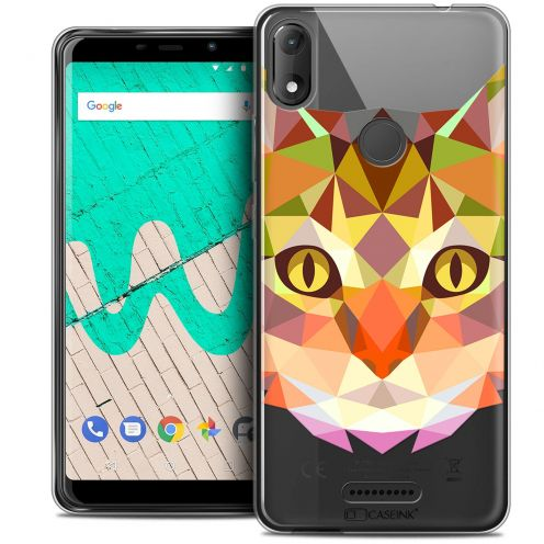 "Extra Slim Crystal Gel Wiko View MAX (5.7"") Case Polygon Animals Cat"