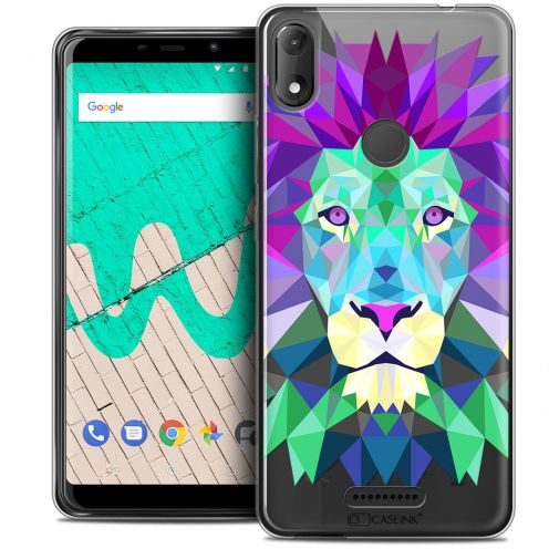 "Extra Slim Crystal Gel Wiko View MAX (5.7"") Case Polygon Animals Lion"