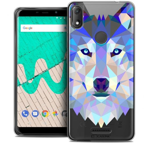 "Extra Slim Crystal Gel Wiko View MAX (5.7"") Case Polygon Animals Wolf"