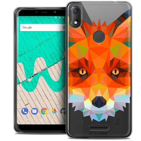 "Extra Slim Crystal Gel Wiko View MAX (5.7"") Case Polygon Animals Fox"