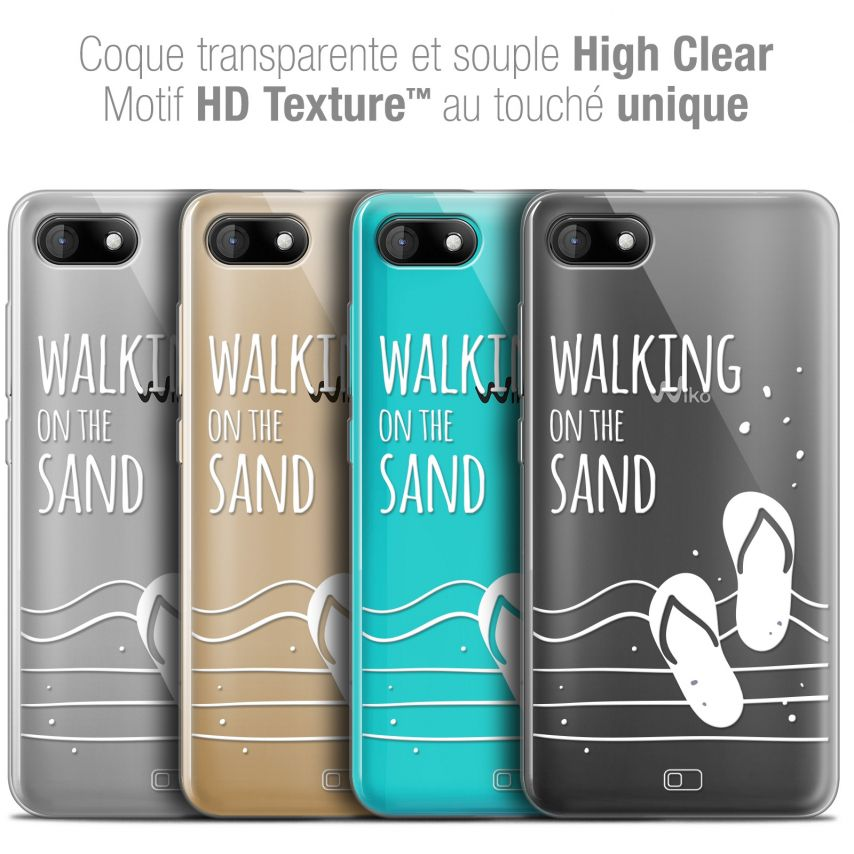 """Extra Slim Crystal Gel Wiko Sunny 3 (5"""") Case Summer Walking on the Sand"""