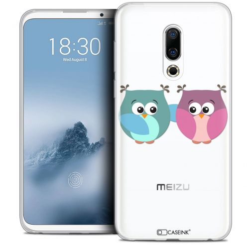 "Extra Slim Crystal Gel Meizu 16 (6"") Case Love Hibous à deux"