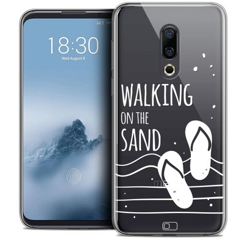 "Extra Slim Crystal Gel Meizu 16 (6"") Case Summer Walking on the Sand"