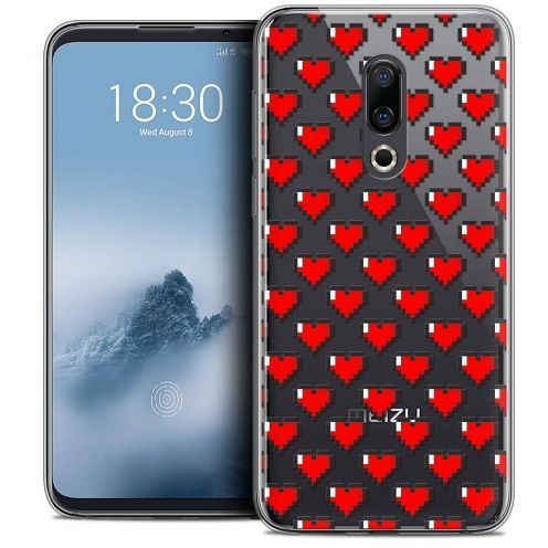 "Extra Slim Crystal Gel Meizu 16 (6"") Case Love Pixel Art"