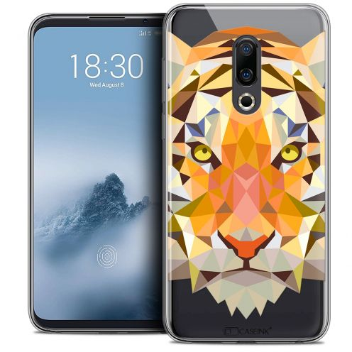 "Extra Slim Crystal Gel Meizu 16 (6"") Case Polygon Animals Tiger"