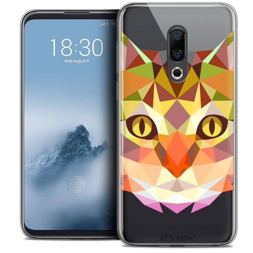"Extra Slim Crystal Gel Meizu 16 (6"") Case Polygon Animals Cat"