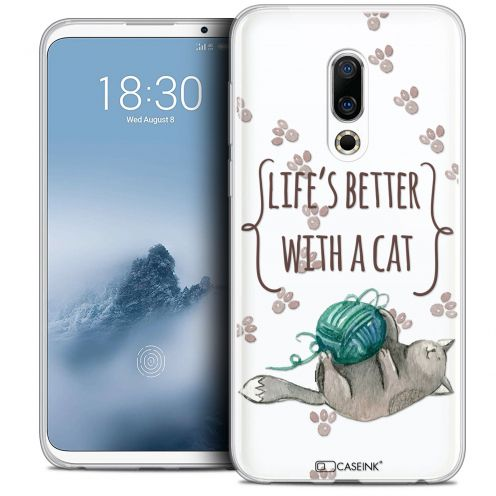 "Extra Slim Crystal Gel Meizu 16 (6"") Case Quote Life's Better With a Cat"