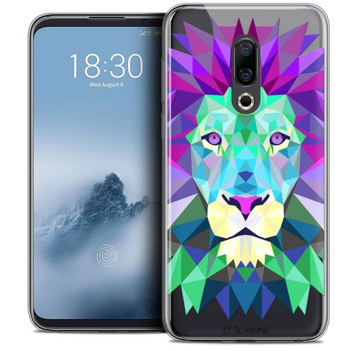 "Extra Slim Crystal Gel Meizu 16 (6"") Case Polygon Animals Lion"