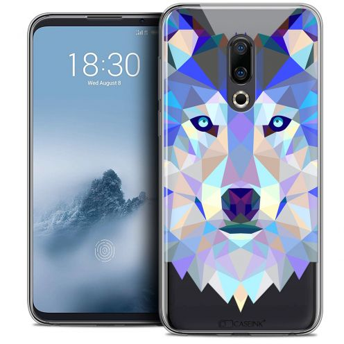 "Extra Slim Crystal Gel Meizu 16 (6"") Case Polygon Animals Wolf"