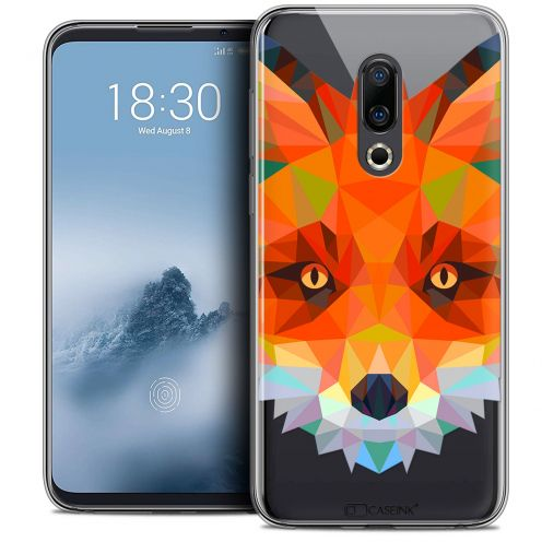 "Extra Slim Crystal Gel Meizu 16 (6"") Case Polygon Animals Fox"