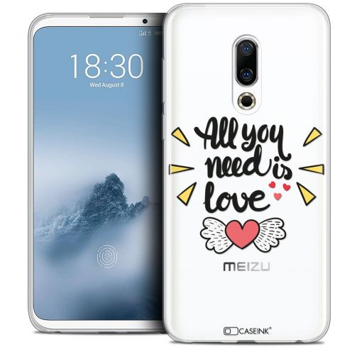 "Extra Slim Crystal Gel Meizu 16 (6"") Case Love All U Need Is"