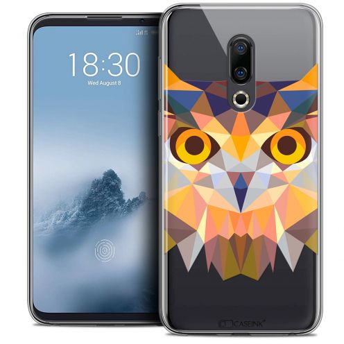 "Extra Slim Crystal Gel Meizu 16 (6"") Case Polygon Animals Owl"