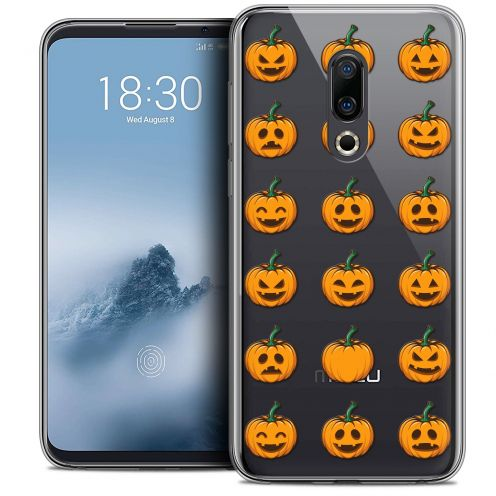 "Extra Slim Crystal Gel Meizu 16 (6"") Case Halloween Smiley Citrouille"