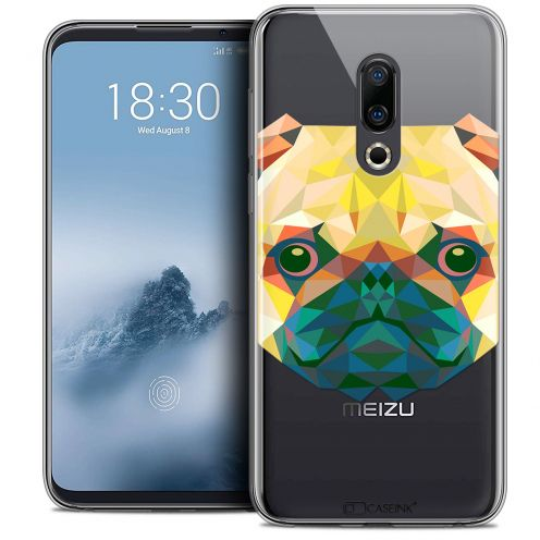 "Extra Slim Crystal Gel Meizu 16 (6"") Case Polygon Animals Dog"