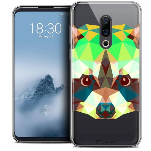 "Extra Slim Crystal Gel Meizu 16 (6"") Case Polygon Animals Raton Laveur"