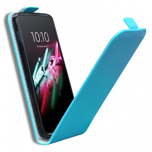 """Clamshell Flip Flexi Case for Alcatel OneTouch Idol 3 (4.7"""") Eco Leather Blue"""