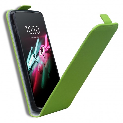 """Clamshell Flip Flexi Case for Alcatel OneTouch Idol 3 (4.7"""") Eco Leather Green"""