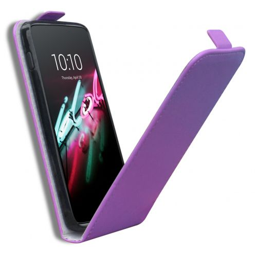 "Clamshell Flip Flexi Case for Alcatel OneTouch Idol 3 (4.7"") Eco Leather Purple"