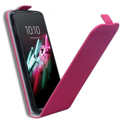 "Clamshell Flip Flexi Case for Alcatel OneTouch Idol 3 (4.7"") Eco Leather Pink"