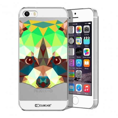 Extra Slim Crystal iPhone 5/5S/SE Case Polygon Animals Racoon