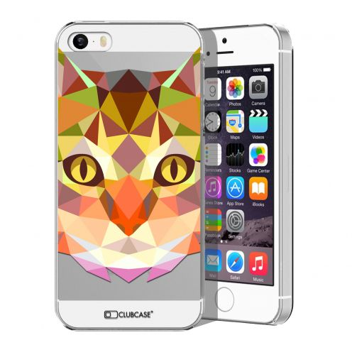 Extra Slim Crystal iPhone 5/5S/SE Case Polygon Animals Cat