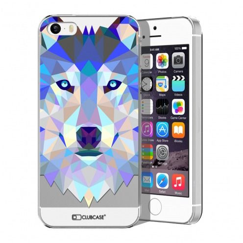 Extra Slim Crystal iPhone 5/5S Case Polygon Animals Wolf